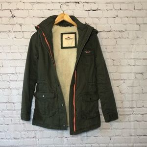 Hollister Army Green Hooded Zip Utility Jacket